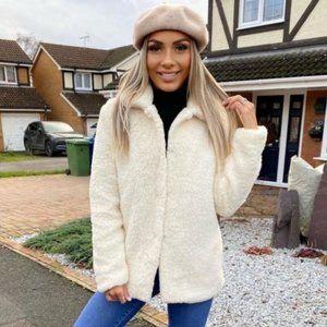 Long Sleeve Faux Shearling Fur Jacket Coat